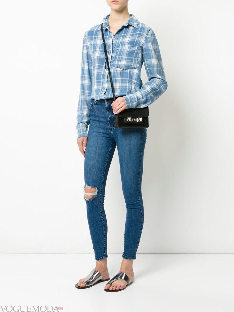 рваные джинсы рубашка клетка