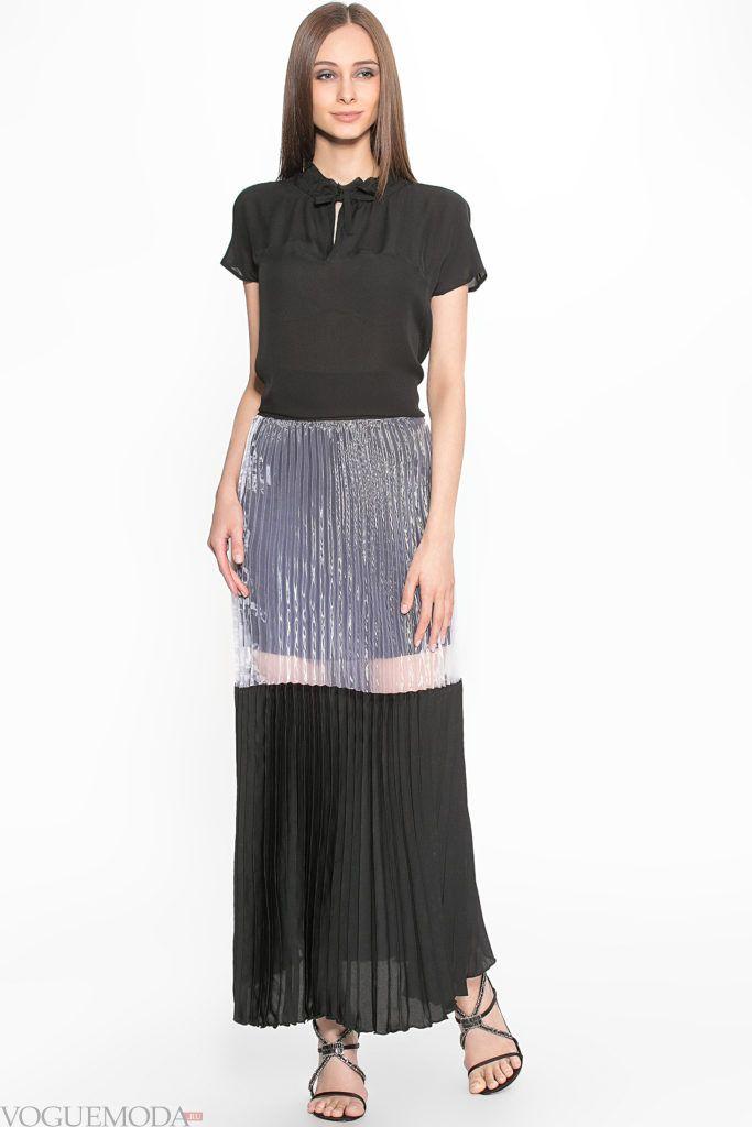 модная плиссированная двухцветная юбка