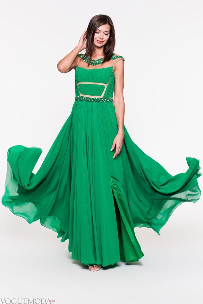 модное уличное платье зеленое