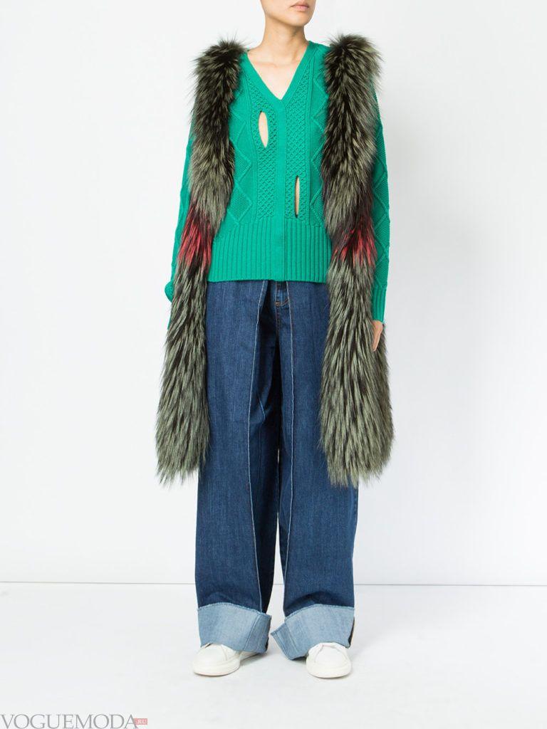 модный зеленый мех