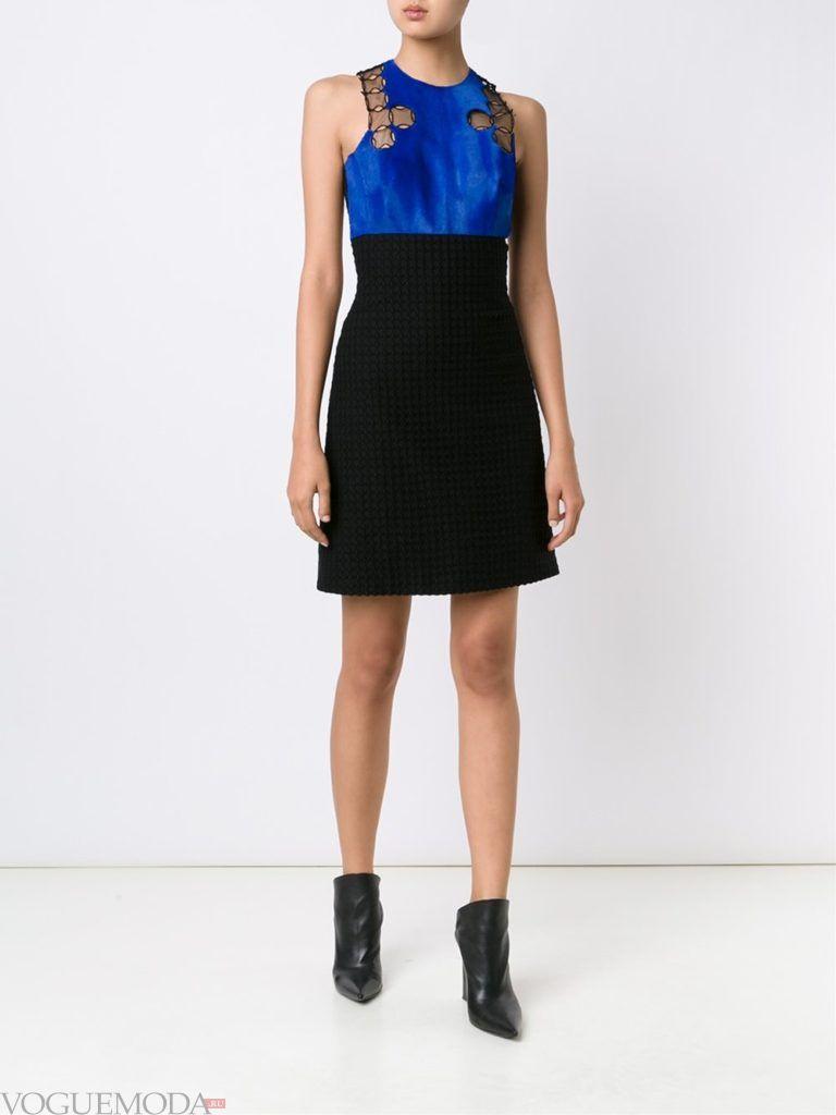 модное платье с ярким мехом