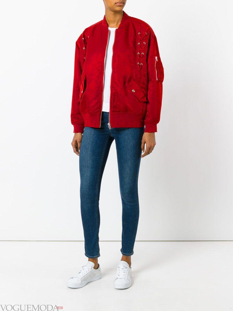 уличная куртка-бомбер красная