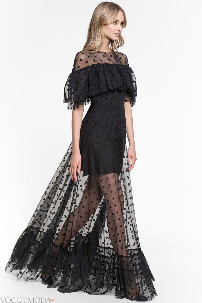 модное черное прозрачное платье
