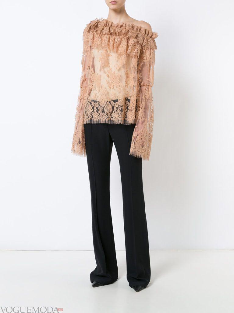 модный лук с прозрачной блузой