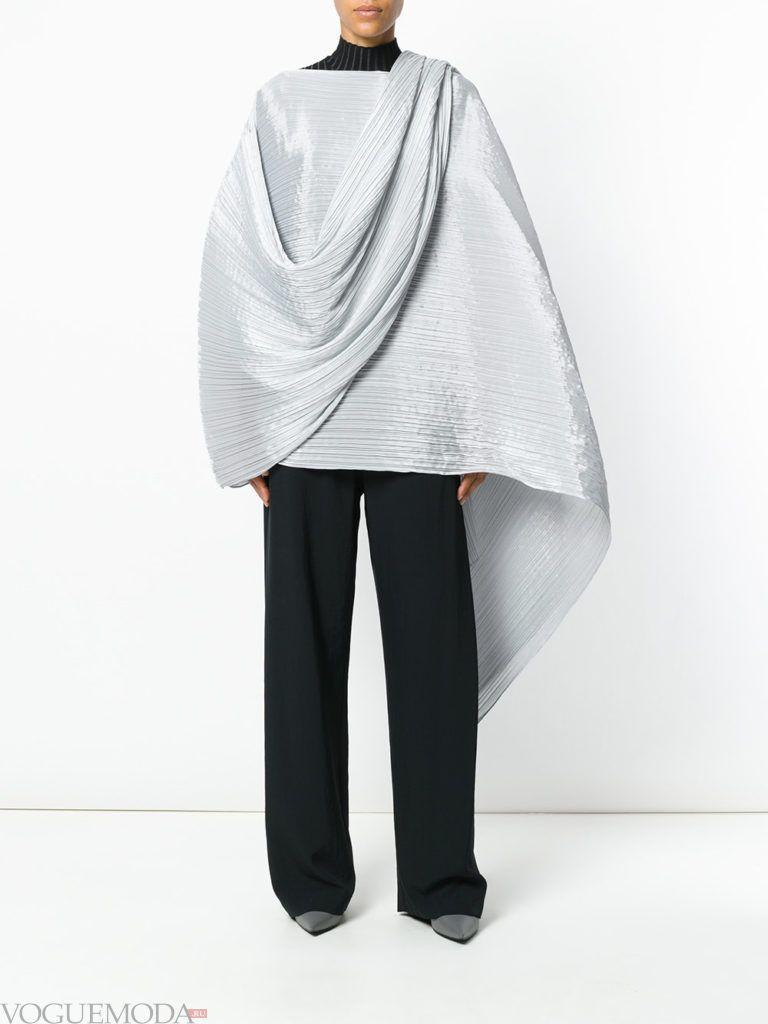 модный кейп серый