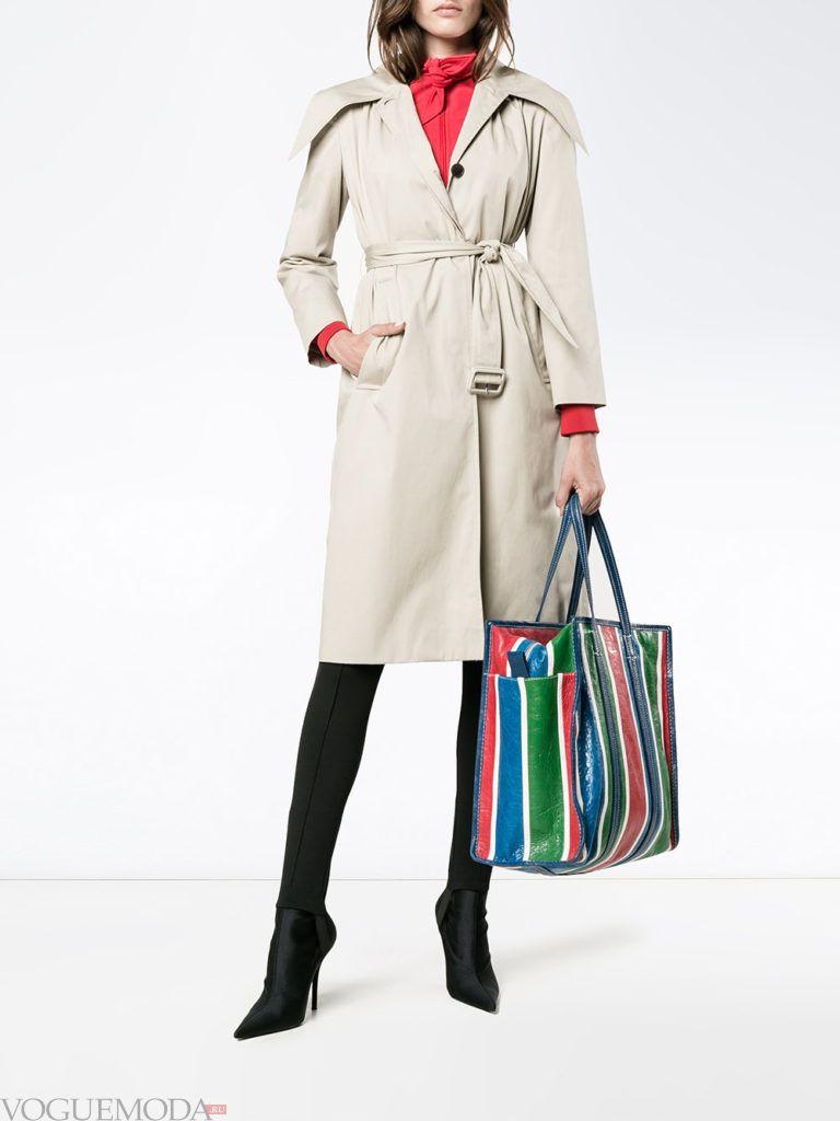 модная большая полосатая сумка
