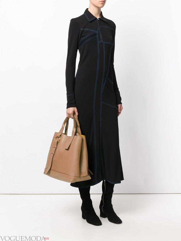 модная большая бежевая сумка
