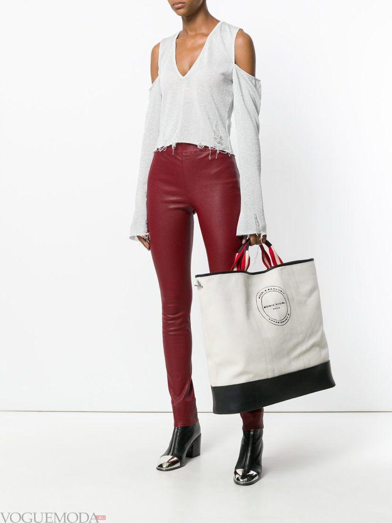 модная большая двухцветная сумка