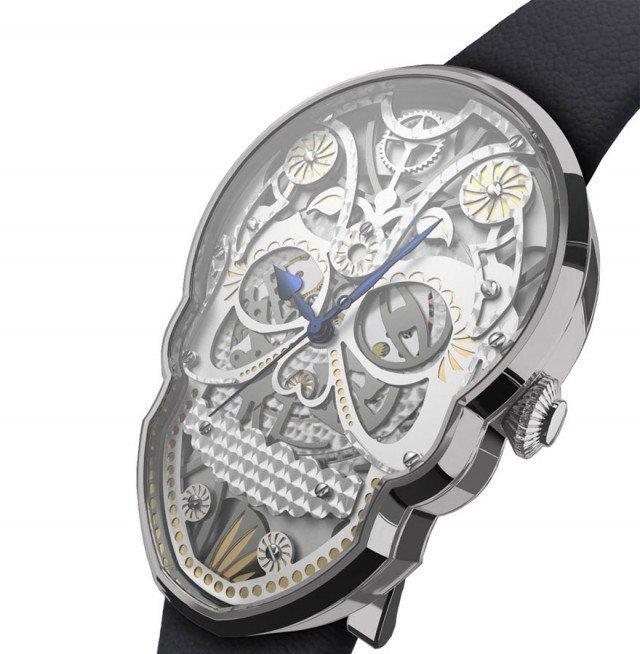 часы молодежные: серебристые форма череп