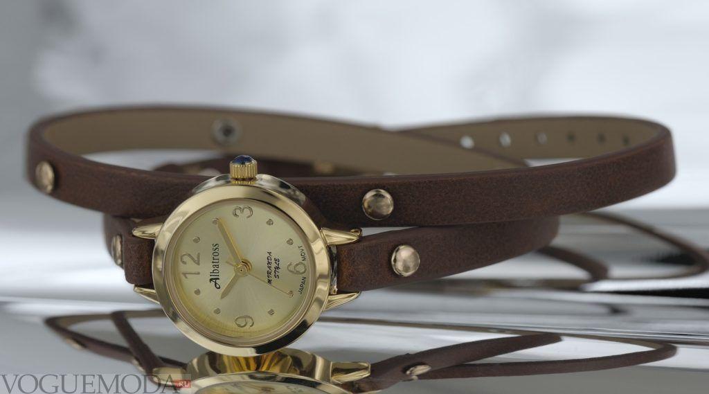 женские часы с длинным ремешком: круглые с коричневым ремешком