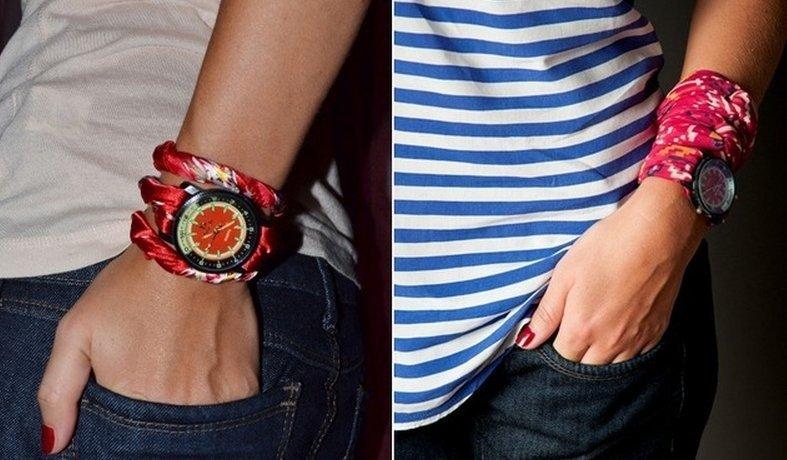 женские часы с длинным ремешком: ремни из ткани