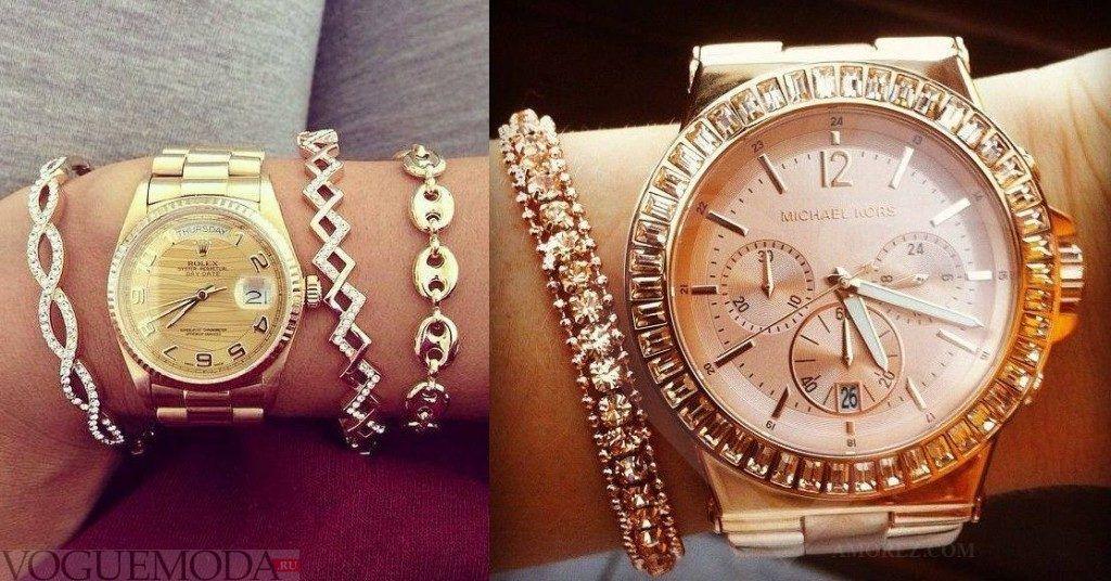 женские часы с длинным ремешком: золотые