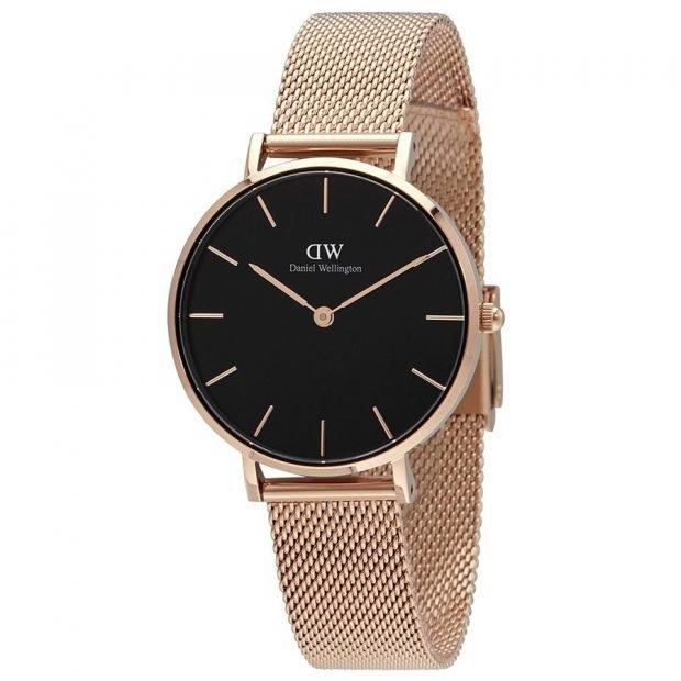 женские часы: классические черный циферблат золотой ремень