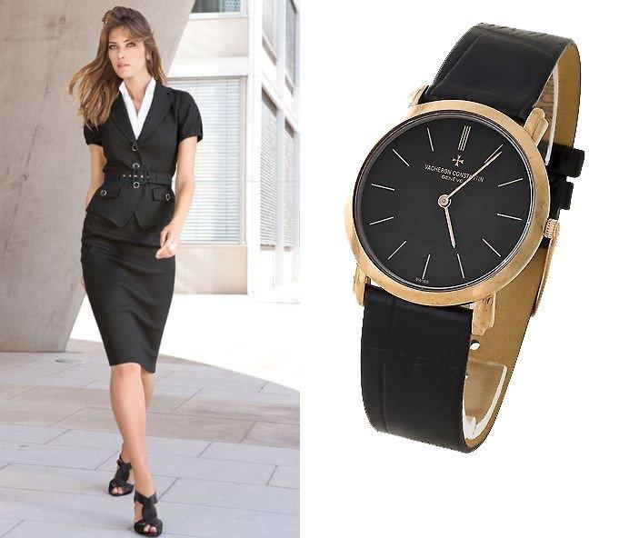 классические женские часы: круглые черные с золотом
