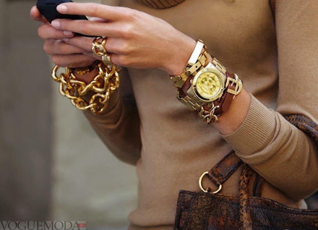 часы с длинными ремнями с золотом