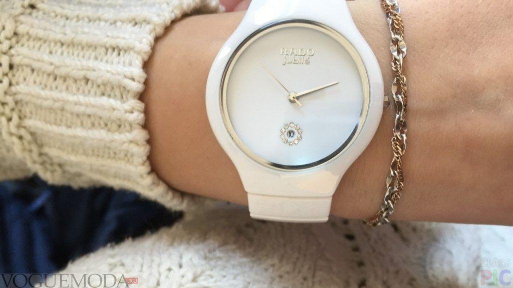 часы круглые белые каучук