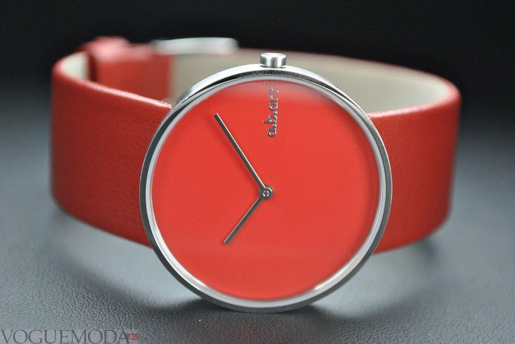 часы красные круглые