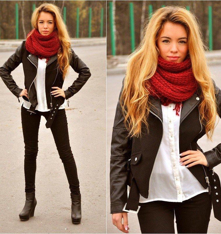 красный шарф вязаный хомут