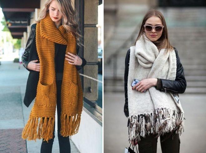 шарф коричневый белый с карманами