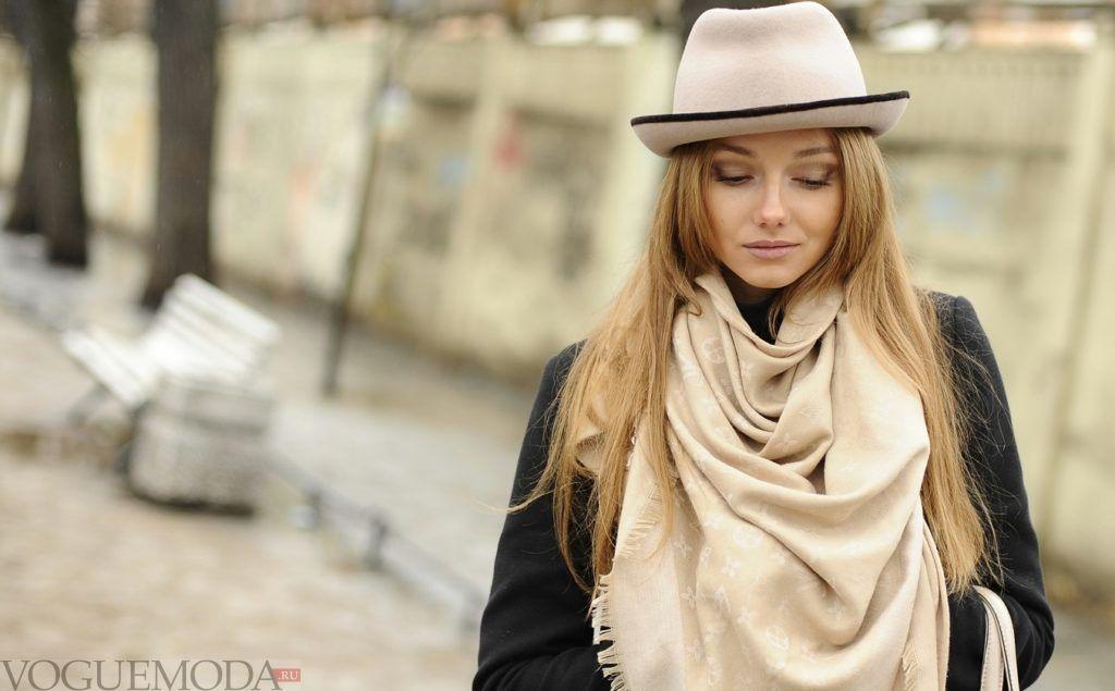 шарф платок бежевый