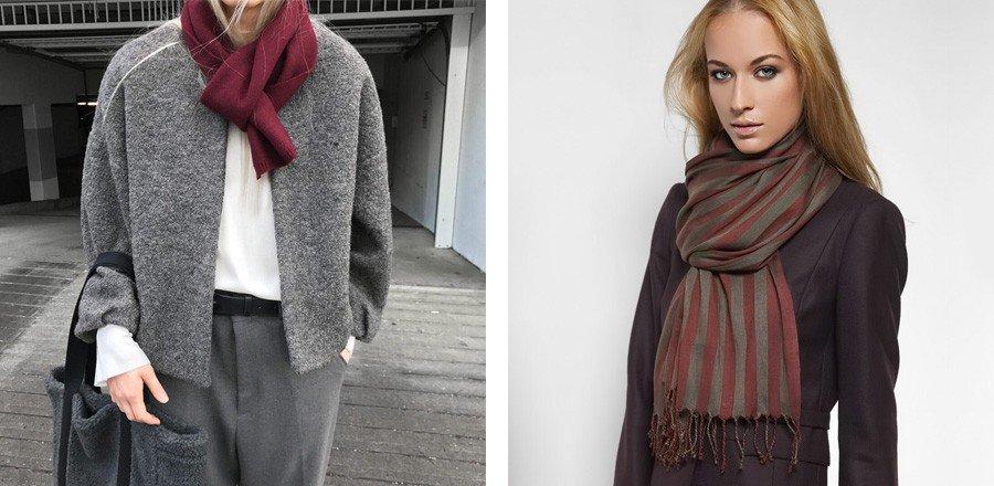 шарф бордовый шарф в полоску