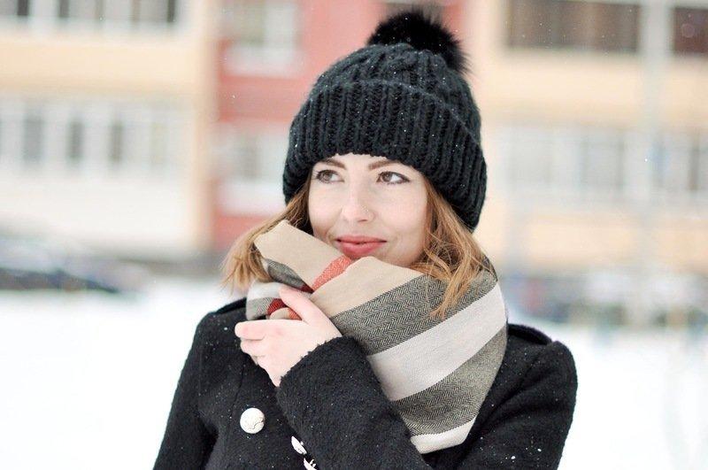 шарф платок объемный полосатый