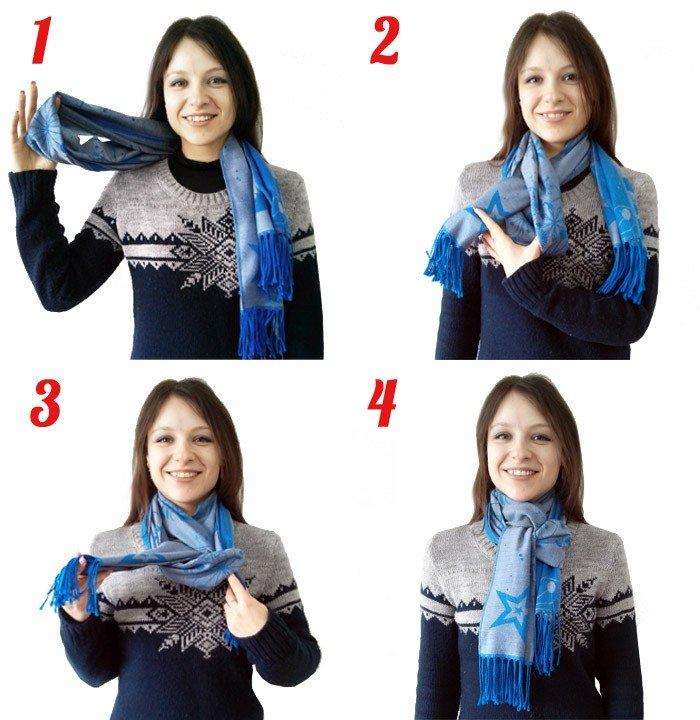 как красиво завязать шарф синий