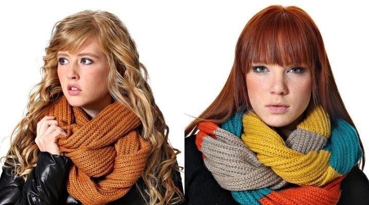 как красиво завязать шарф хомут коричневый в полоску