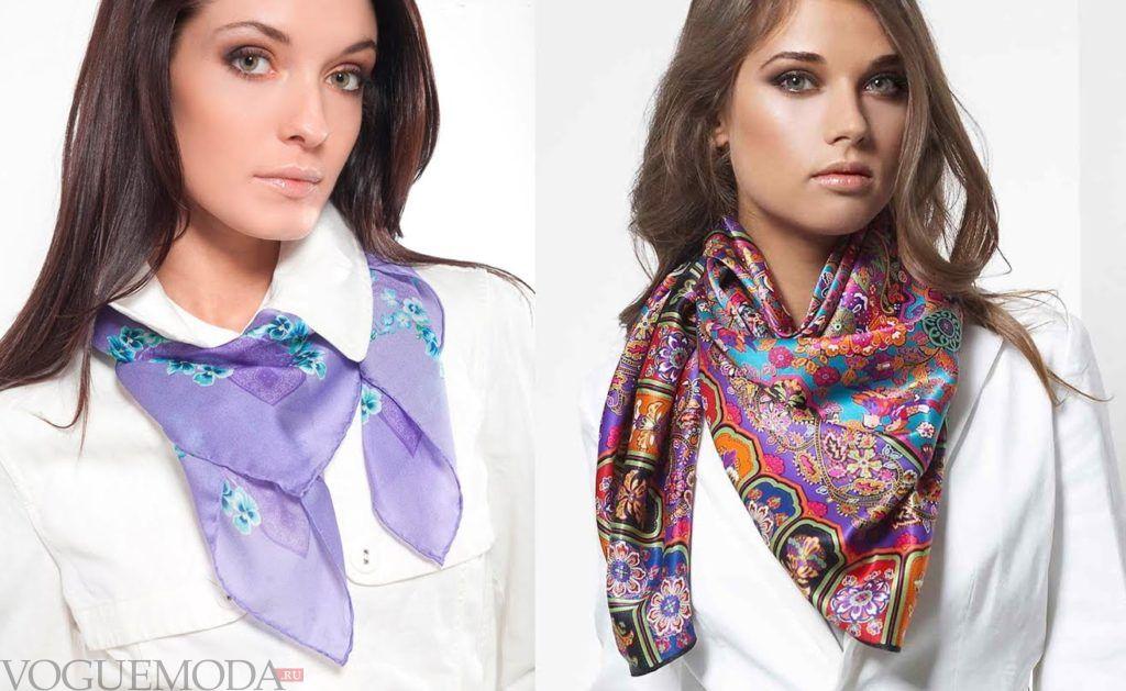 как красиво завязать шарф-платок голубой цветной