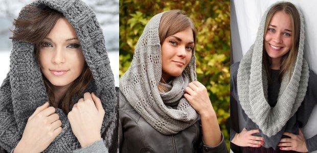 как красиво завязать шарф-снуд серый