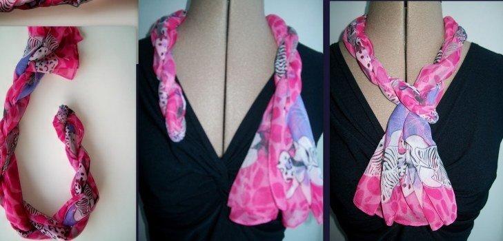 как красиво завязать шарф розовый