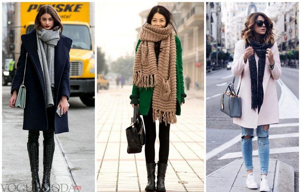 как красиво завязать шарф под пальто серый коричневый черный