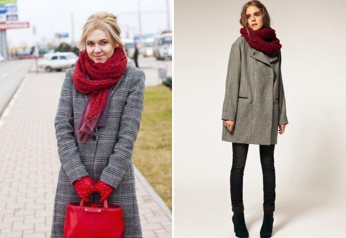 как красиво завязать шарф под пальто бордовый