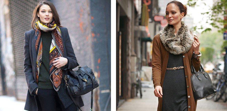 как красиво завязать шарф под пальто шелковый цветной меховой серый