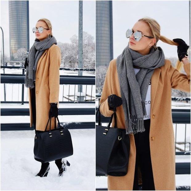 как красиво завязать шарф под пальто серый