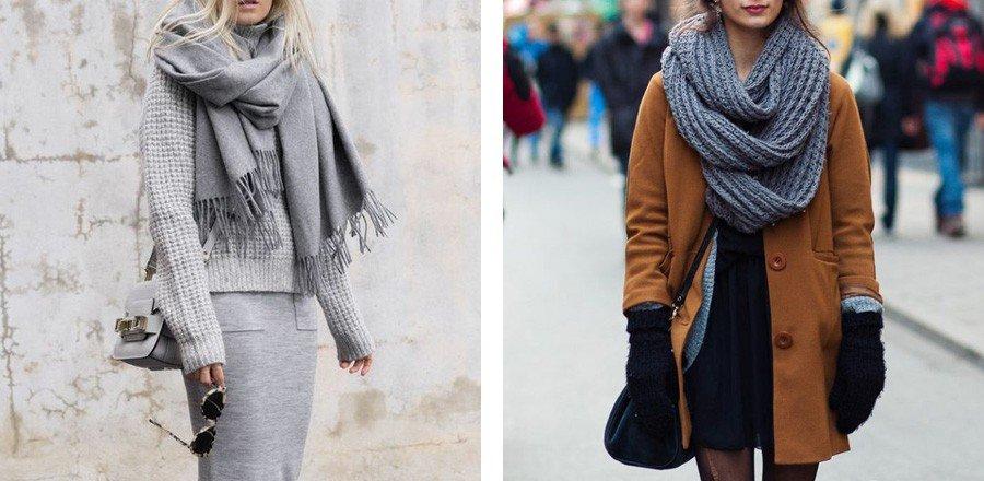 как красиво завязать шарф под пальто серый серый-хомут