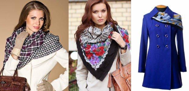 как красиво завязать шарф под пальто в клетку в цветы голубой в узор
