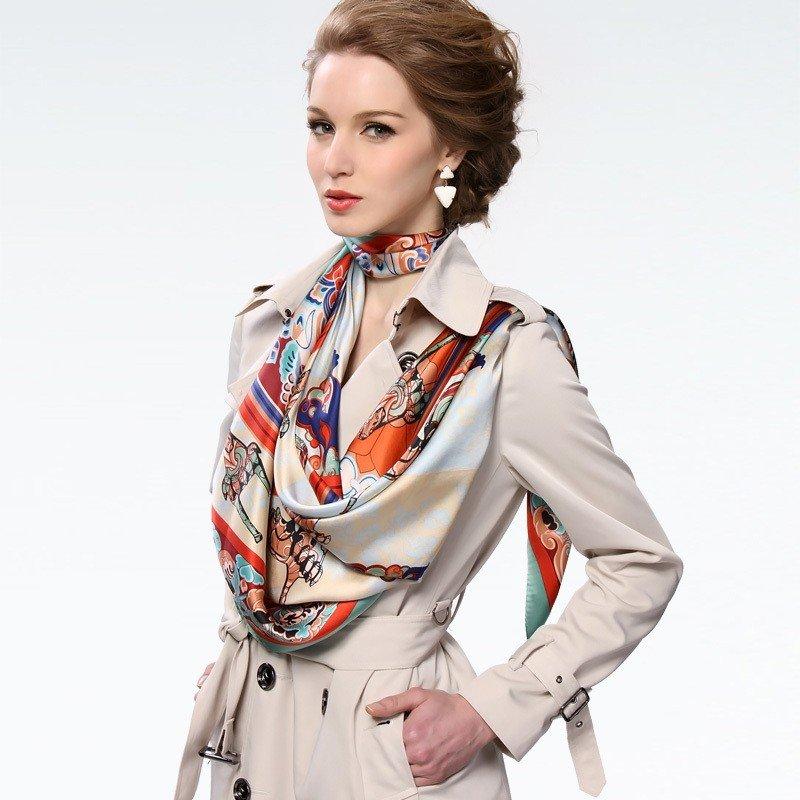 как красиво завязать шарф под пальто шелковый цветной