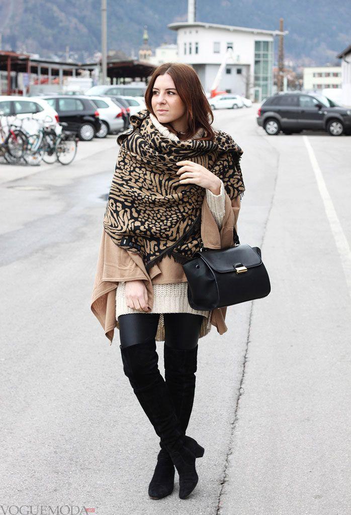 как красиво завязать шарф под пальто черный с бежевым