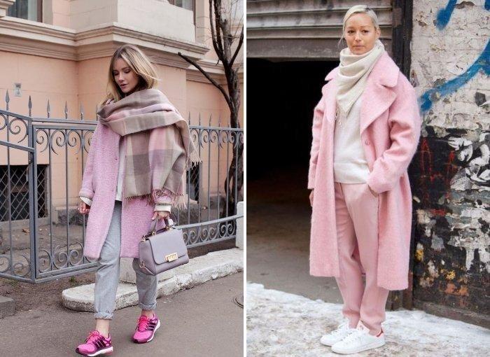 как красиво завязать шарф под пальто розовый с серым
