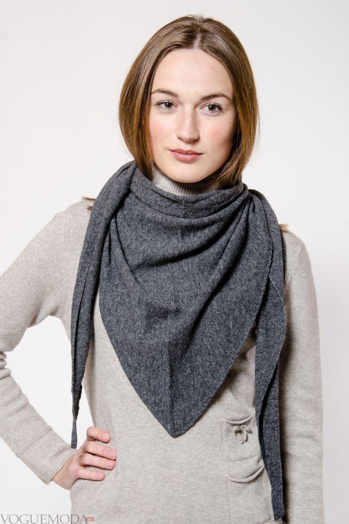 как красиво завязать шарф-платок серый