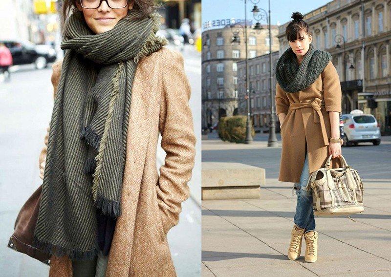 как красиво завязать шарф под пальто серый шарф снуд серый