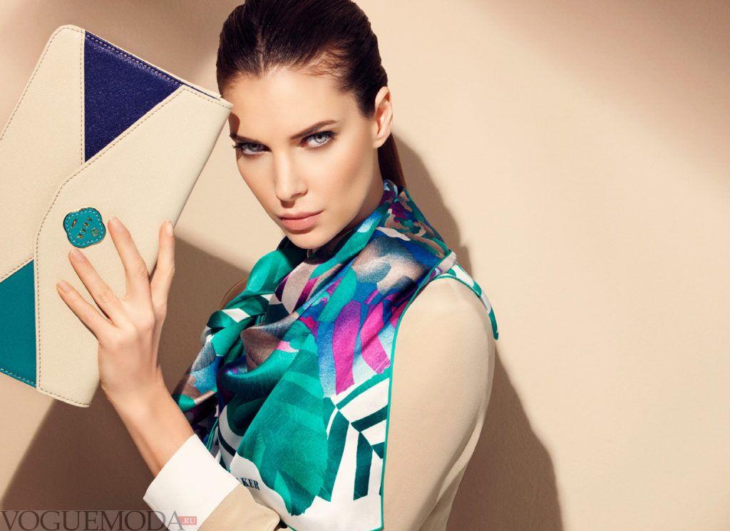 как красиво завязать шарф-платок шелковый цветной