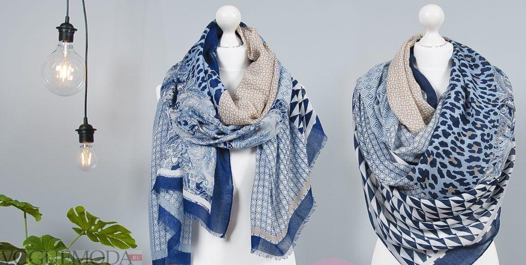 как красиво завязать шарф-платок голубой два варианта