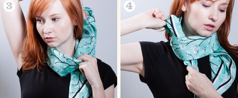 как красиво завязать шарф платок голубой