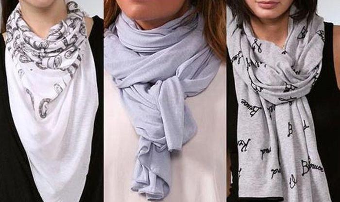 как красиво завязать шарф платок серые варианты