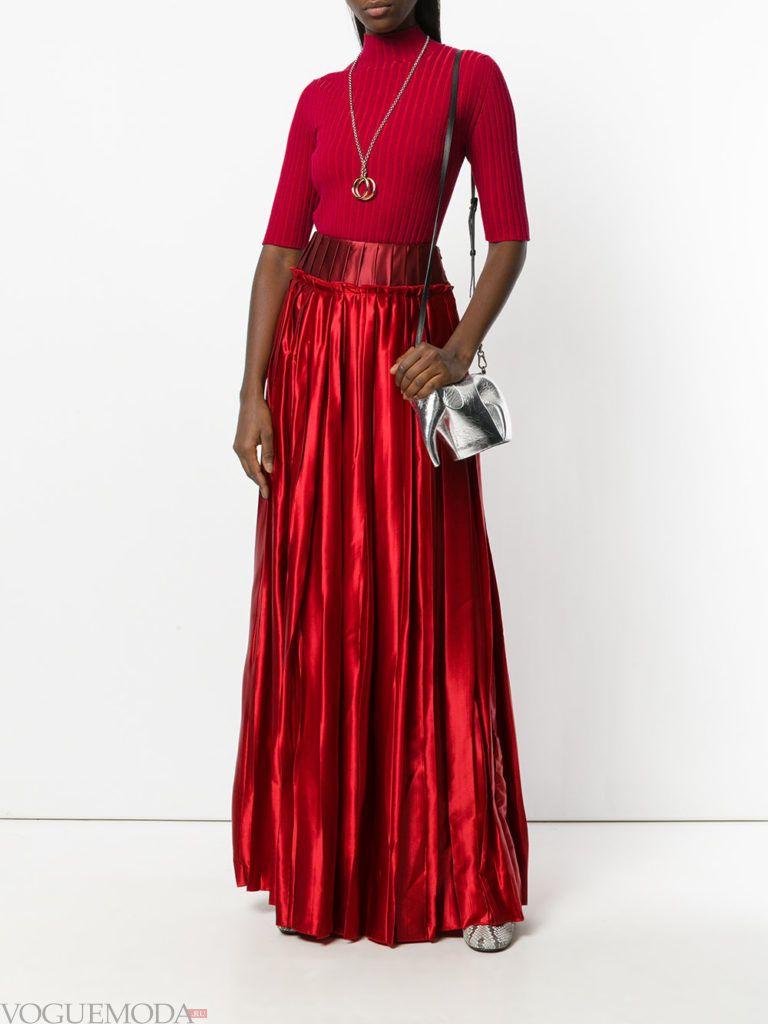 образ с яркой красной юбкой