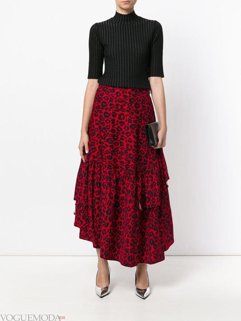 красная юбка макси