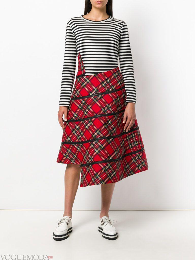 красная юбка асимметричная
