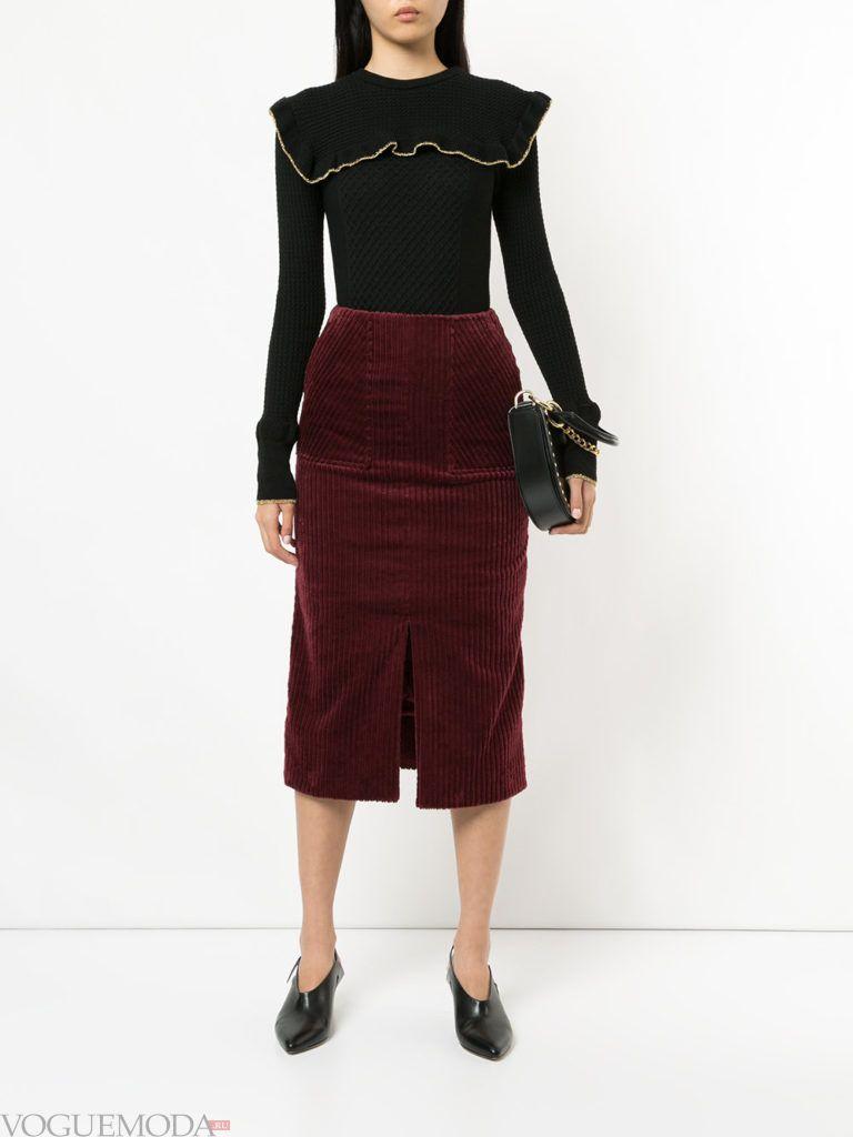 красная юбка бархатная